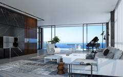 séjour design moderne avec vue sur la mer