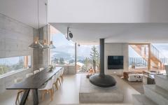 intérieur éclectique design séjour industriel avec vue