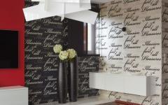 séjour moderne décoration noir blanc rouge