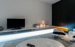 cheminée design moderne intégrée meuble TV