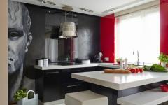 cuisine aux placards intégrés noirs
