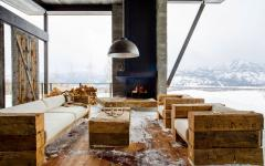 salon aménagé extérieur mobilier bois brut