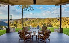 véranda vue sur les terres fertiles d'australie vini viticulture