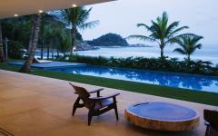 vue exotique sur les cocotiers et l'océan