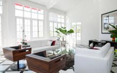 ameublement luxe élégant canapé blanc villa à louer rio de janeiro