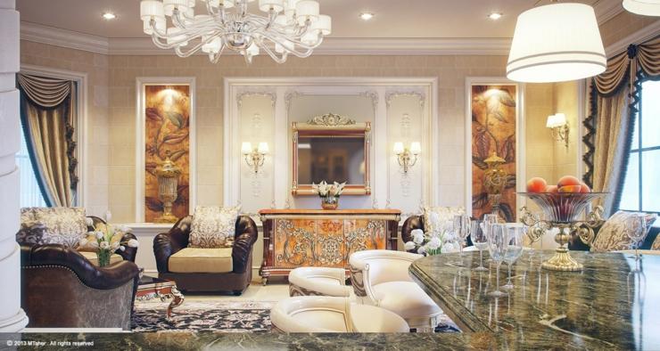 Intérieur design à la décoration royale